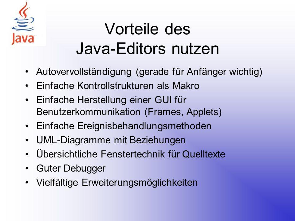 Vorteile des Java-Editors nutzen Autovervollständigung (gerade für Anfänger wichtig) Einfache Kontrollstrukturen als Makro Einfache Herstellung einer