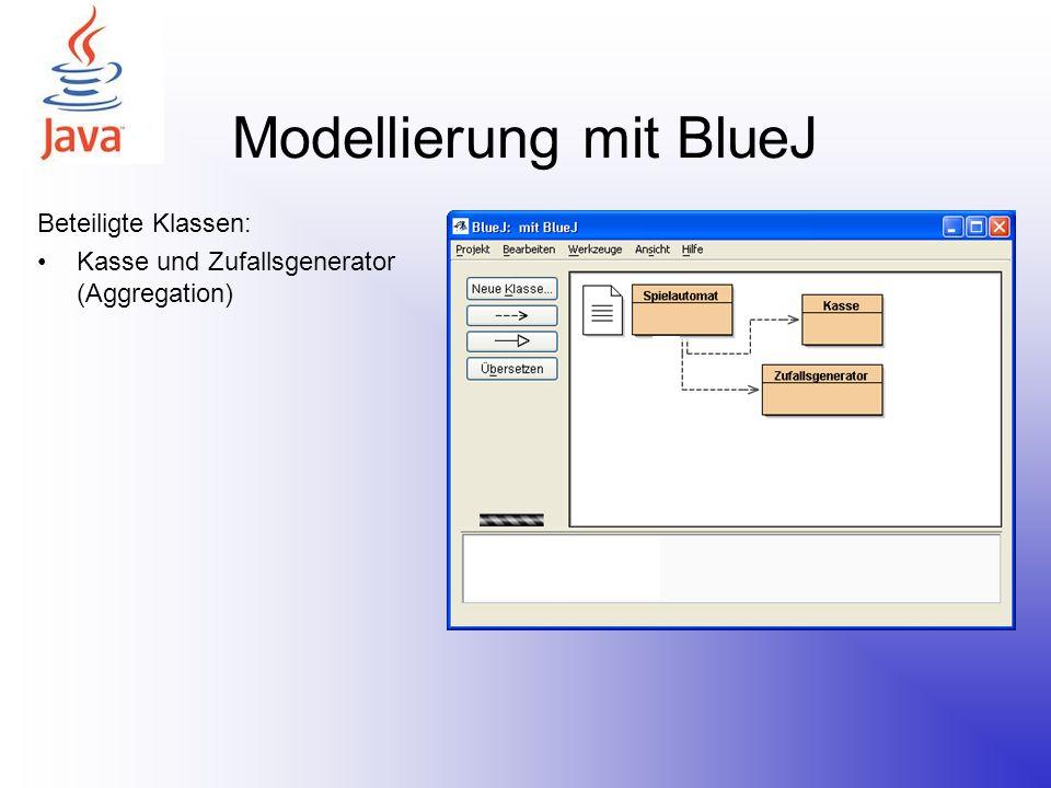 Modellierung mit BlueJ Beteiligte Klassen: Kasse und Zufallsgenerator (Aggregation) Spieler (Assoziation)
