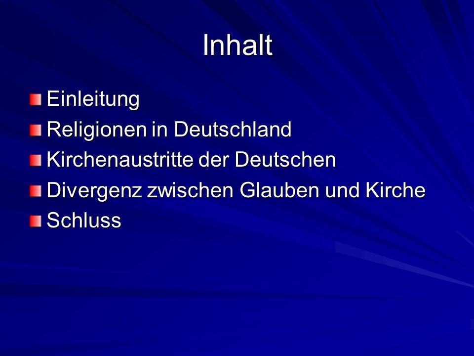 Inhalt Einleitung Religionen in Deutschland Kirchenaustritte der Deutschen Divergenz zwischen Glauben und Kirche Schluss