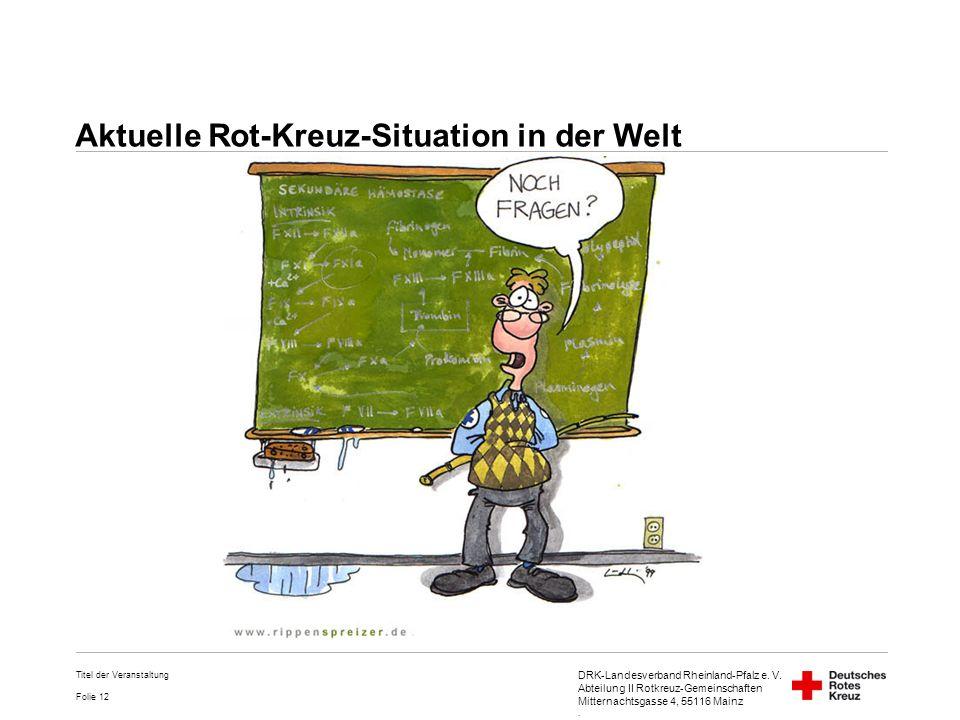 DRK-Landesverband Rheinland-Pfalz e. V. Abteilung II Rotkreuz-Gemeinschaften Mitternachtsgasse 4, 55116 Mainz. Folie 12 Titel der Veranstaltung Aktuel