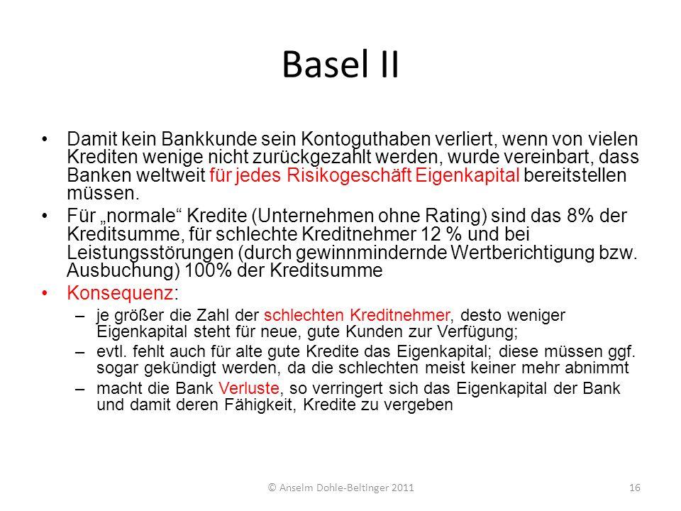 Basel II Damit kein Bankkunde sein Kontoguthaben verliert, wenn von vielen Krediten wenige nicht zurückgezahlt werden, wurde vereinbart, dass Banken w