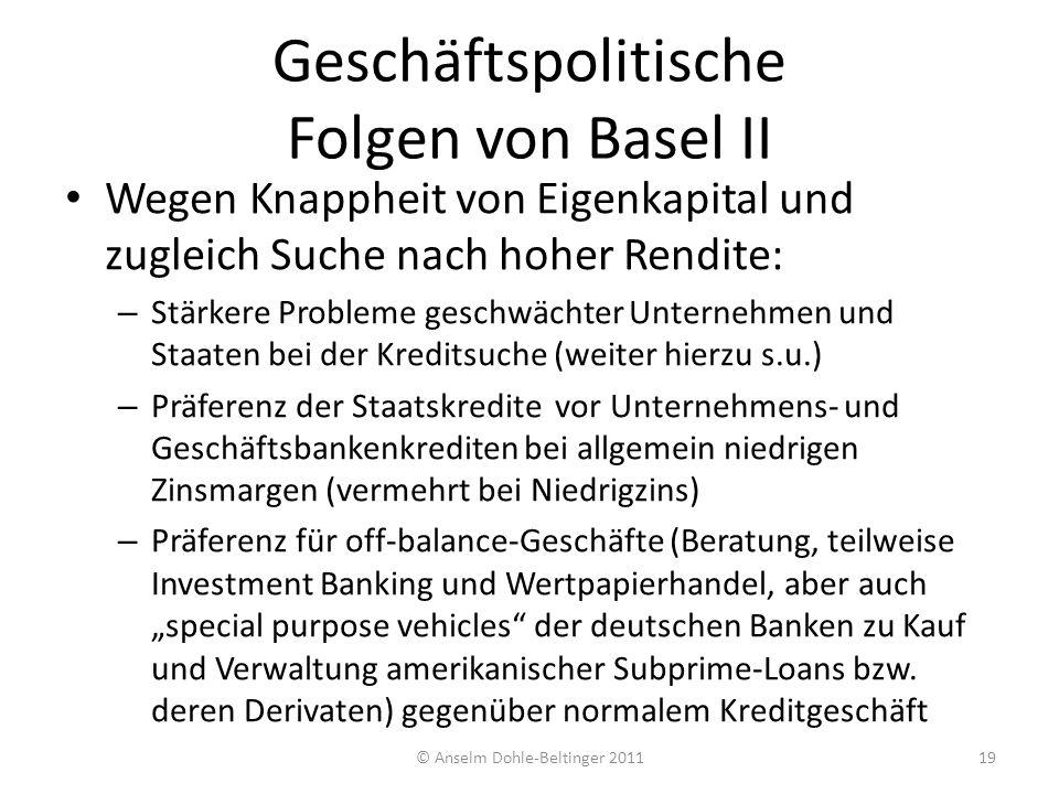 Geschäftspolitische Folgen von Basel II Wegen Knappheit von Eigenkapital und zugleich Suche nach hoher Rendite: – Stärkere Probleme geschwächter Unter