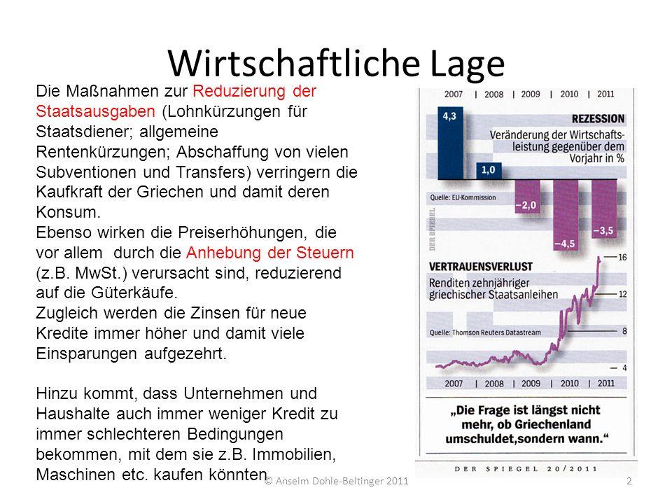 © Anselm Dohle-Beltinger 20113 Per 12/2010EU 27DeutschlandGriechenland Arbeitslose9,5 %6,6 %14,1 % Inflation2,7 %1,9 %5,2 % Budgetdefizit/ BIP 6,4 %3,3 %10,5 % Gesamtschuld9.828 Mrd2.080 Mrd329 Mrd Gesamtschuld /BIP 80 %83,2 %142,8 % Änderung BIP1,9 %3,8 %-8,8 % BIP12.266 Mrd2.499 Mrd230 Mrd BIP/Kopf PPP100%119 %89 % Außenbeitrag+ 132 Mrd-19 Mrd Quellen: Eurostat epp.eurostat.ec.europa.euepp.eurostat.ec.europa.eu INSM-Ökonomenblog www.insm-oekonomenblog.dewww.insm-oekonomenblog.de Hellenic Statistical Authority www.statistics.grwww.statistics.gr Statistisches Bundesamt www.destatis.dewww.destatis.de Stand: 25.06.2011