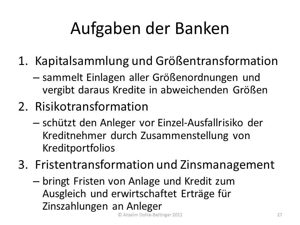 Aufgaben der Banken 1.Kapitalsammlung und Größentransformation – sammelt Einlagen aller Größenordnungen und vergibt daraus Kredite in abweichenden Grö
