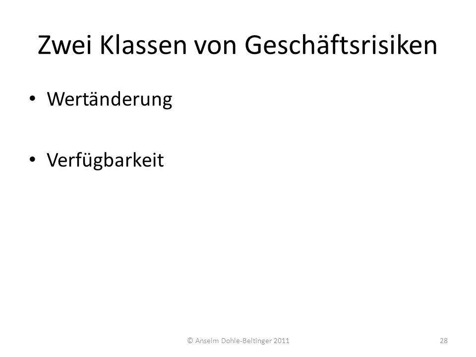 Zwei Klassen von Geschäftsrisiken Wertänderung Verfügbarkeit 28© Anselm Dohle-Beltinger 2011
