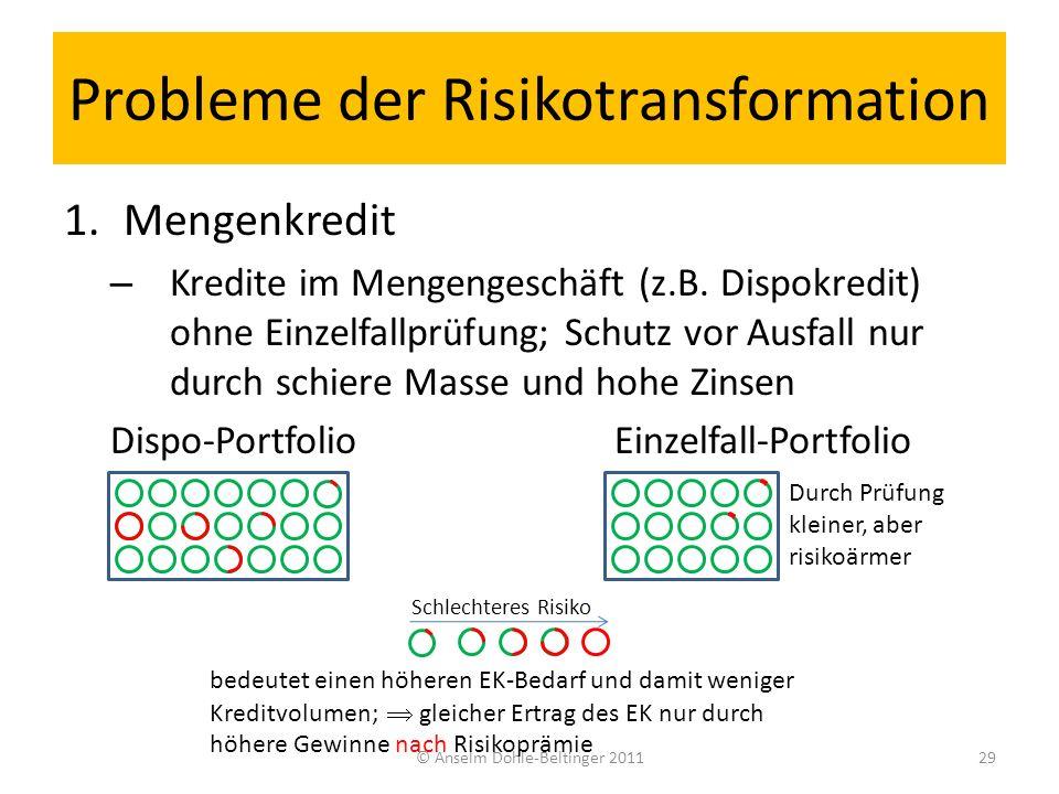 Probleme der Risikotransformation 1.Mengenkredit – Kredite im Mengengeschäft (z.B. Dispokredit) ohne Einzelfallprüfung; Schutz vor Ausfall nur durch s