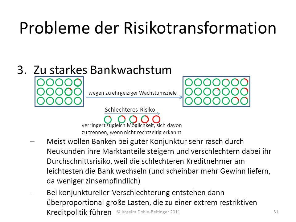 3.Zu starkes Bankwachstum – Meist wollen Banken bei guter Konjunktur sehr rasch durch Neukunden ihre Marktanteile steigern und verschlechtern dabei ih