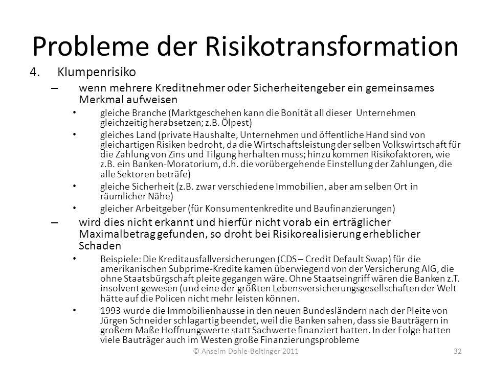 Probleme der Risikotransformation 4.Klumpenrisiko – wenn mehrere Kreditnehmer oder Sicherheitengeber ein gemeinsames Merkmal aufweisen gleiche Branche