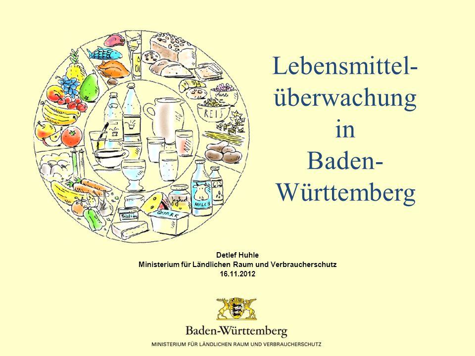 Lebensmittelüberwachung - Baden-Württemberg Schulverpflegung Zahlen 2011 2.265 registrierte Schulverpflegungen (12.878 Küchen und Kantinen gesamt)* davon 836 kontrolliert (= 37 %) davon 60,8 % mit allen Verstößen, die teilweise auch nicht zu behördliche Maßnahmen geführt haben (im Vergleich 66,8 % bei Küchen und Kantinen insgesamt), vor allem Eigenkontrollsystem, Personal- und Betriebshygiene, Bauliches, Temperaturüberwachung, Kennzeichnung Probenuntersuchungen in Einrichtungen zur Gemeinschaftsverpflegungen überwiegend nur anlassbezogen sinnvoll.