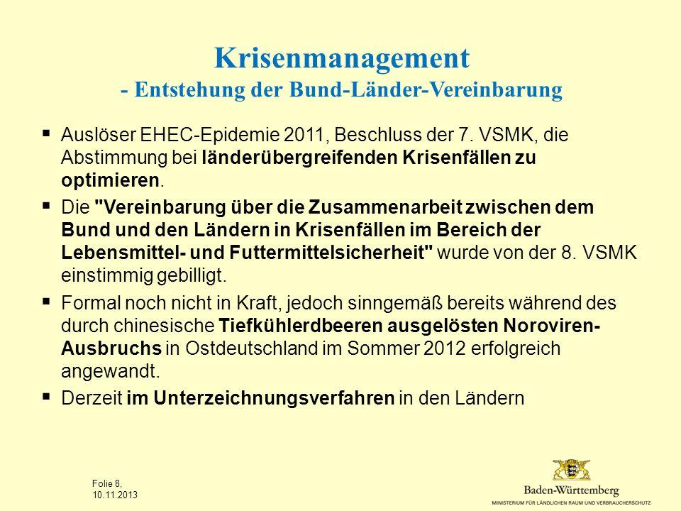 Krisenmanagement - Entstehung der Bund-Länder-Vereinbarung Auslöser EHEC-Epidemie 2011, Beschluss der 7. VSMK, die Abstimmung bei länderübergreifenden