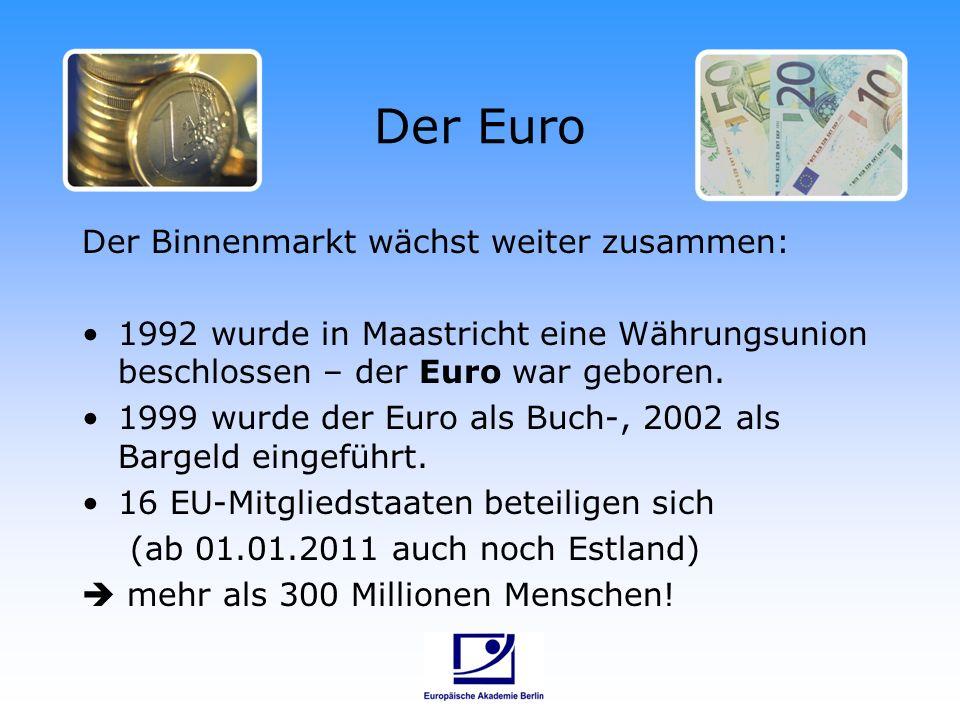 Der Euroraum EU-Länder, in denen der Euro verwendet wird EU-Länder, in denen der Euro nicht verwendet wird
