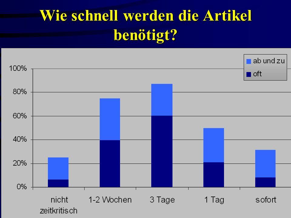 Dr. Oliver Obst AGMB-Sitzung Bibliothekskongreß Leipzig 22.3.2000 Wie schnell werden die Artikel benötigt?