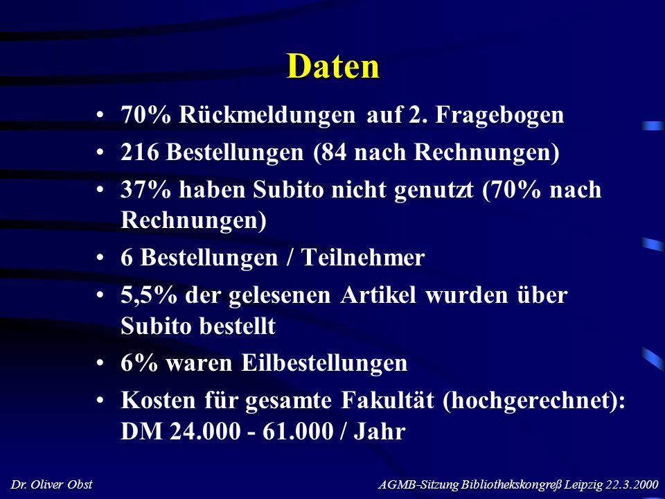 Dr. Oliver Obst AGMB-Sitzung Bibliothekskongreß Leipzig 22.3.2000 70% Rückmeldungen auf 2. Fragebogen 216 Bestellungen (84 nach Rechnungen) 37% haben