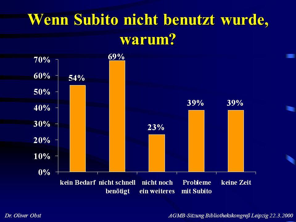 Dr. Oliver Obst AGMB-Sitzung Bibliothekskongreß Leipzig 22.3.2000 Wenn Subito nicht benutzt wurde, warum?