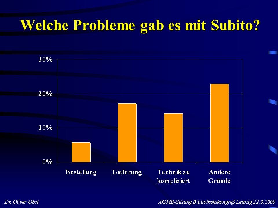 Dr. Oliver Obst AGMB-Sitzung Bibliothekskongreß Leipzig 22.3.2000 Welche Probleme gab es mit Subito?