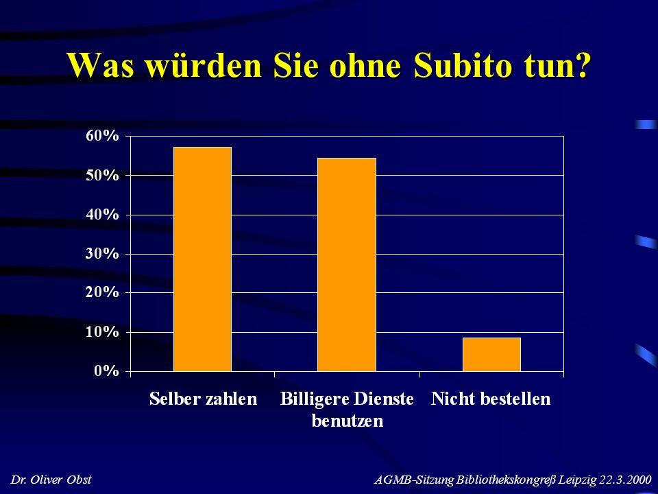 Dr. Oliver Obst AGMB-Sitzung Bibliothekskongreß Leipzig 22.3.2000 Was würden Sie ohne Subito tun?