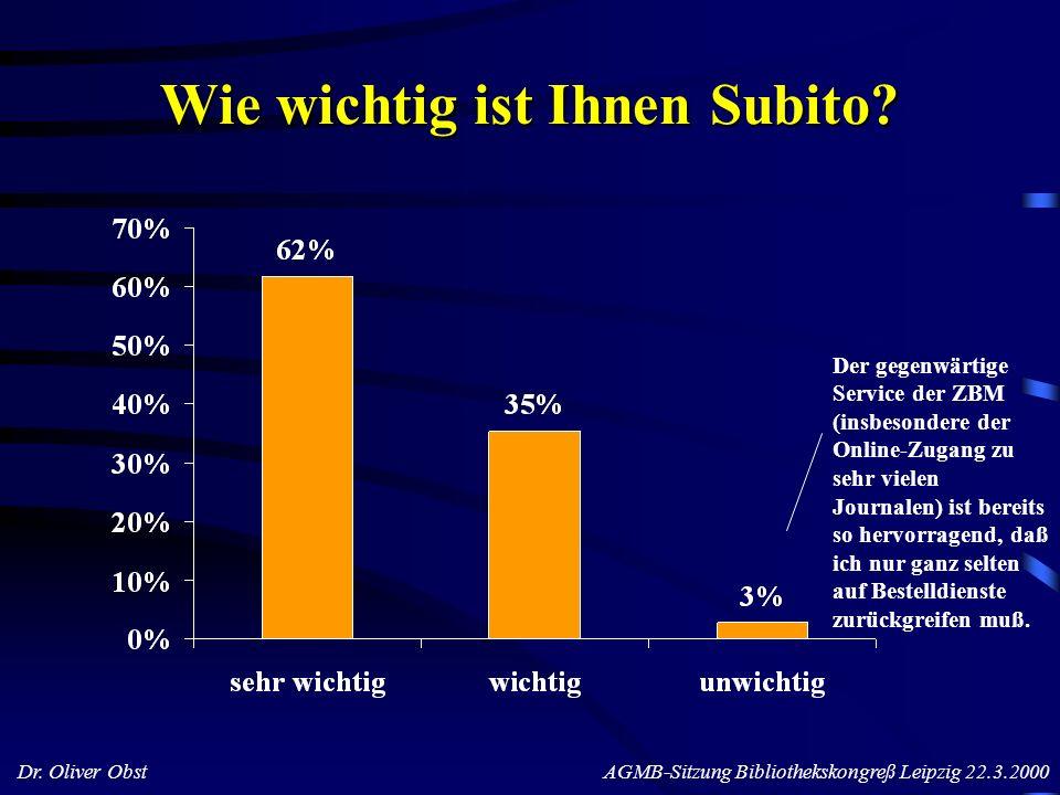 Dr. Oliver Obst AGMB-Sitzung Bibliothekskongreß Leipzig 22.3.2000 Wie wichtig ist Ihnen Subito? Der gegenwärtige Service der ZBM (insbesondere der Onl
