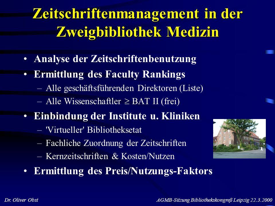 Dr. Oliver Obst AGMB-Sitzung Bibliothekskongreß Leipzig 22.3.2000 Zeitschriftenmanagement in der Zweigbibliothek Medizin Analyse der Zeitschriftenbenu