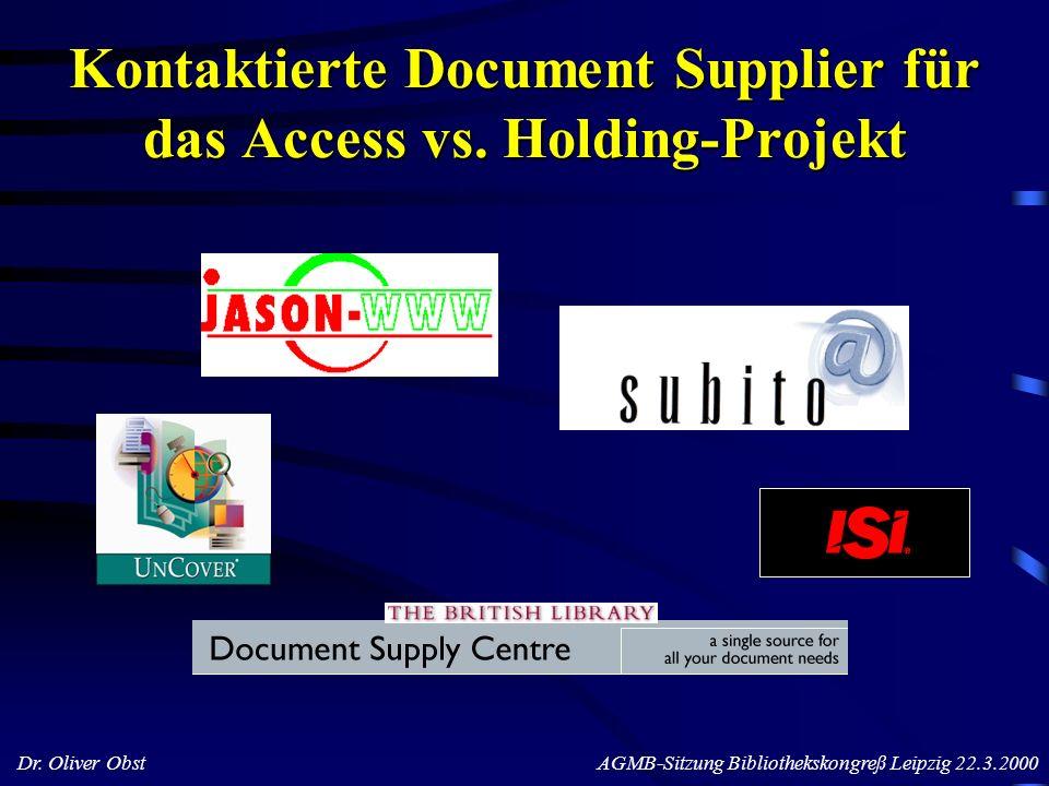 Dr. Oliver Obst AGMB-Sitzung Bibliothekskongreß Leipzig 22.3.2000 Kontaktierte Document Supplier für das Access vs. Holding-Projekt
