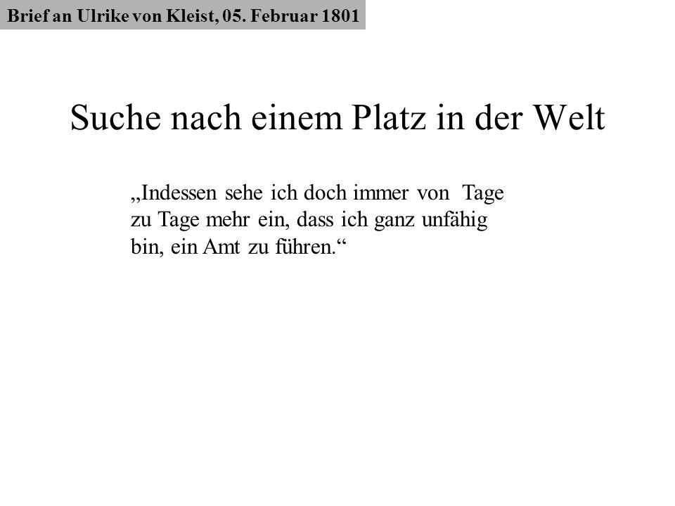 Suche nach einem Platz in der Welt Brief an Ulrike von Kleist, 05. Februar 1801 Indessen sehe ich doch immer von Tage zu Tage mehr ein, dass ich ganz