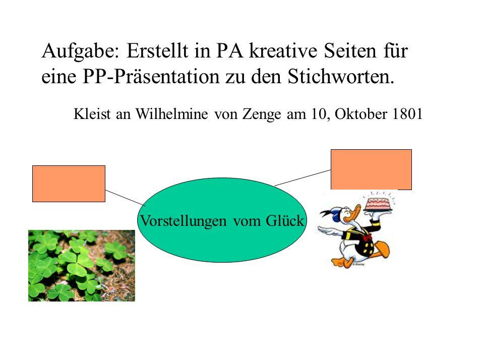 Aufgabe: Erstellt in PA kreative Seiten für eine PP-Präsentation zu den Stichworten. Vorstellungen vom Glück Kleist an Wilhelmine von Zenge am 10, Okt