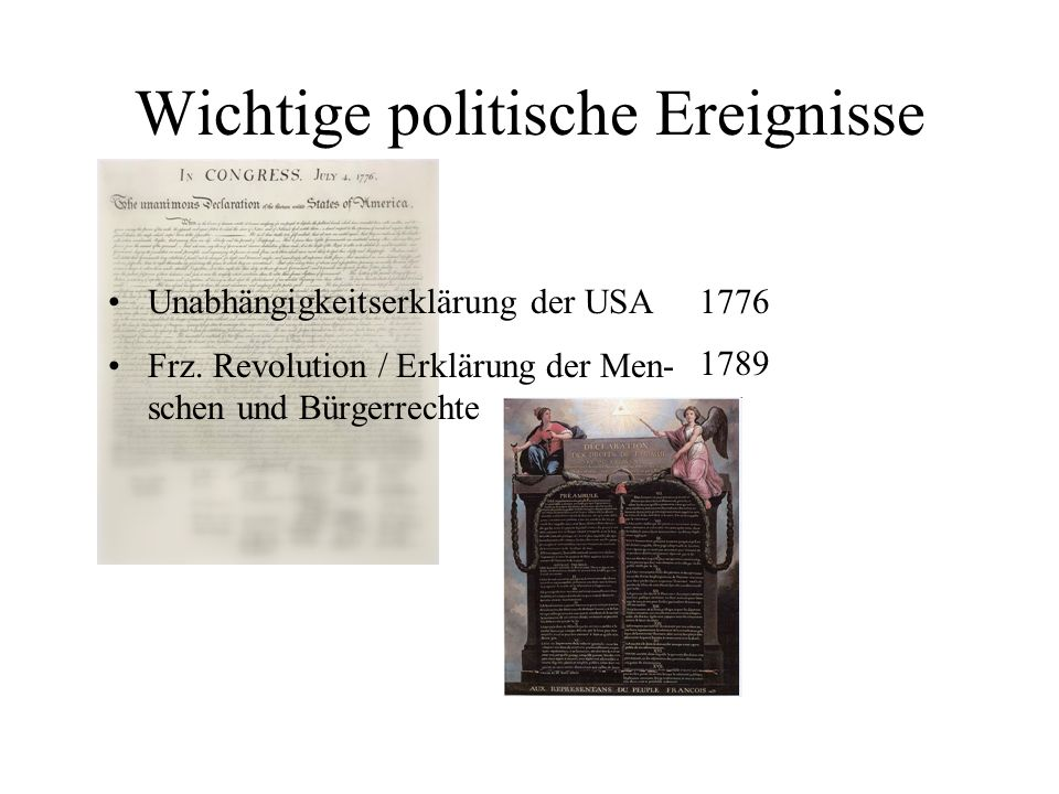 Wichtige politische Ereignisse 1776 1789 Unabhängigkeitserklärung der USA Frz. Revolution / Erklärung der Men- schen und Bürgerrechte