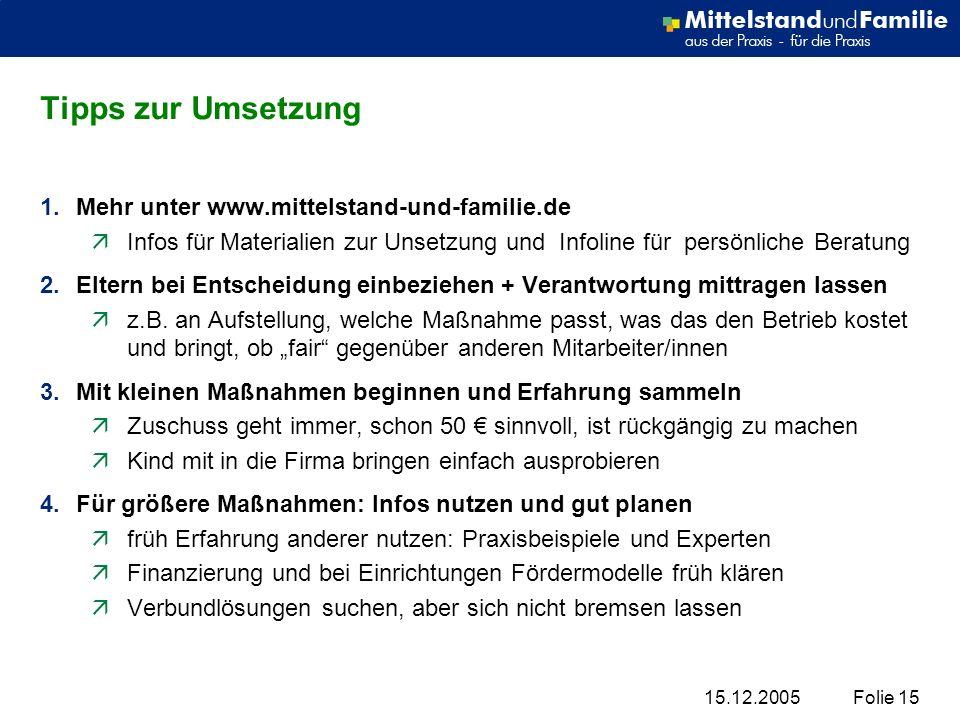 15.12.2005Folie 15 Tipps zur Umsetzung 1.Mehr unter www.mittelstand-und-familie.de äInfos für Materialien zur Unsetzung und Infoline für persönliche B