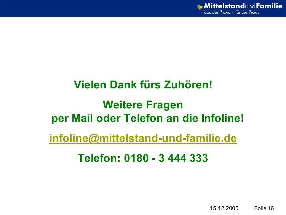 15.12.2005Folie 16 Vielen Dank fürs Zuhören! Weitere Fragen per Mail oder Telefon an die Infoline! infoline@mittelstand-und-familie.de Telefon: 0180 -