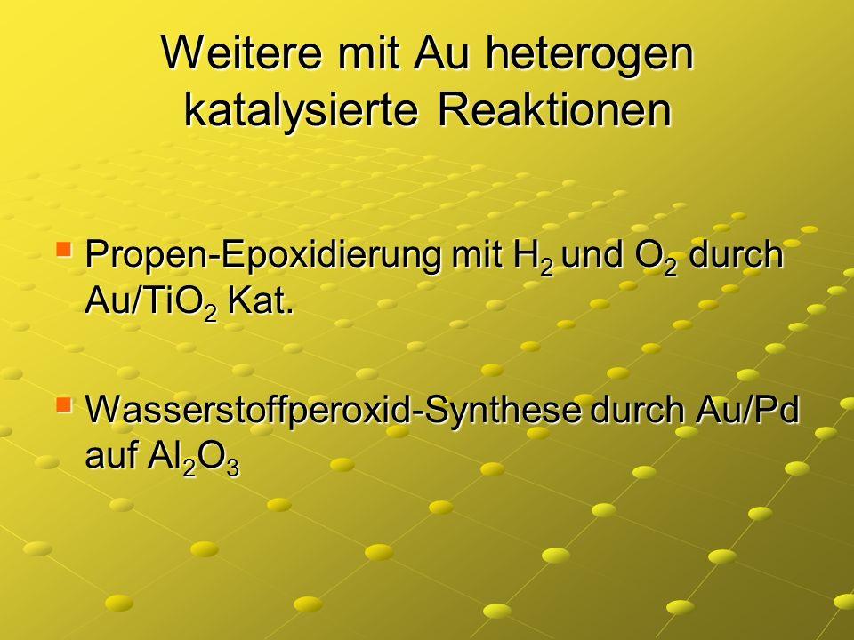 Weitere mit Au heterogen katalysierte Reaktionen Propen-Epoxidierung mit H 2 und O 2 durch Au/TiO 2 Kat. Propen-Epoxidierung mit H 2 und O 2 durch Au/
