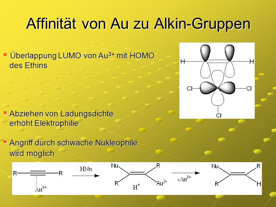 Affinität von Au zu Alkin-Gruppen Überlappung LUMO von Au 3+ mit HOMO Überlappung LUMO von Au 3+ mit HOMO des Ethins des Ethins Abziehen von Ladungsdi