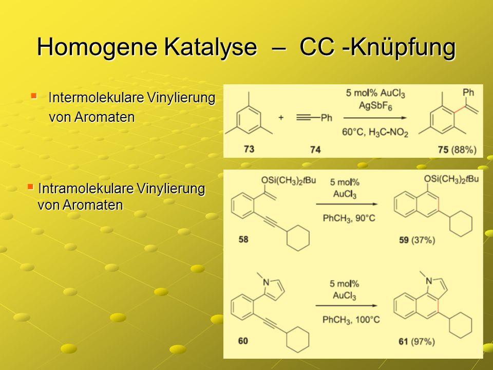 Homogene Katalyse – CC -Knüpfung Intermolekulare Vinylierung Intermolekulare Vinylierung von Aromaten von Aromaten Intramolekulare Vinylierung Intramo
