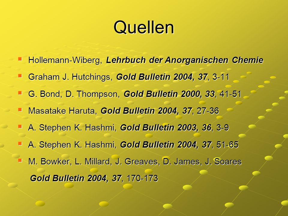 Quellen Hollemann-Wiberg, Lehrbuch der Anorganischen Chemie Hollemann-Wiberg, Lehrbuch der Anorganischen Chemie Graham J. Hutchings, Gold Bulletin 200