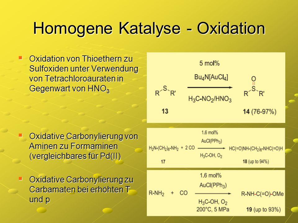Homogene Katalyse - Oxidation Oxidation von Thioethern zu Sulfoxiden unter Verwendung von Tetrachloroauraten in Gegenwart von HNO 3 Oxidation von Thio
