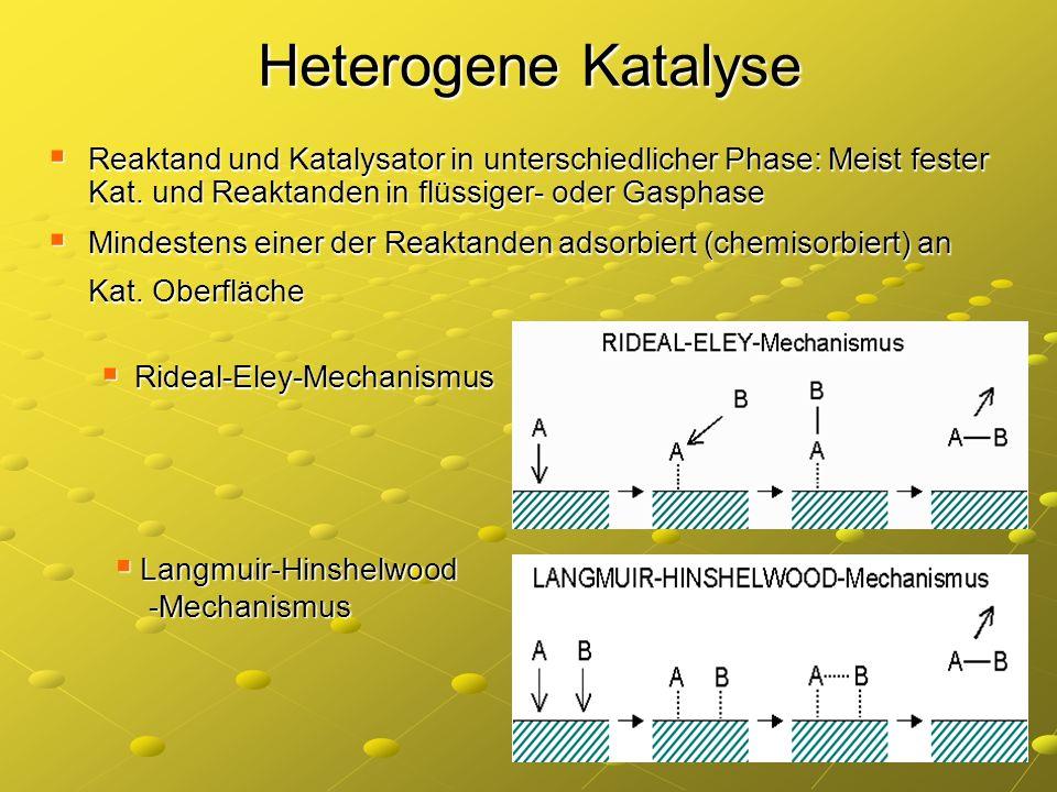 Heterogene Katalyse Reaktand und Katalysator in unterschiedlicher Phase: Meist fester Kat. und Reaktanden in flüssiger- oder Gasphase Reaktand und Kat