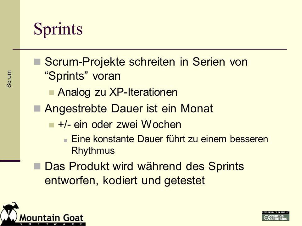Sprints Scrum-Projekte schreiten in Serien von Sprints voran Analog zu XP-Iterationen Angestrebte Dauer ist ein Monat +/- ein oder zwei Wochen Eine ko