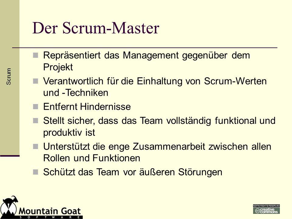 Der Scrum-Master Scrum Repräsentiert das Management gegenüber dem Projekt Verantwortlich für die Einhaltung von Scrum-Werten und -Techniken Entfernt H