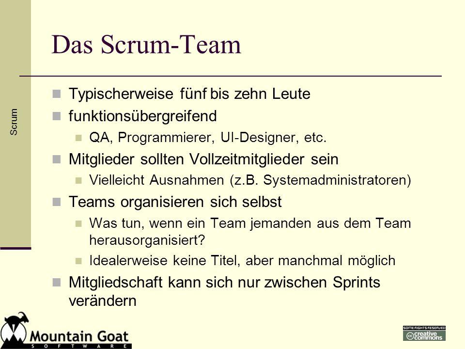 Das Scrum-Team Typischerweise fünf bis zehn Leute funktionsübergreifend QA, Programmierer, UI-Designer, etc. Mitglieder sollten Vollzeitmitglieder sei