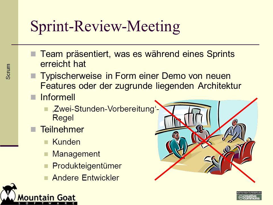 Sprint-Review-Meeting Team präsentiert, was es während eines Sprints erreicht hat Typischerweise in Form einer Demo von neuen Features oder der zugrun