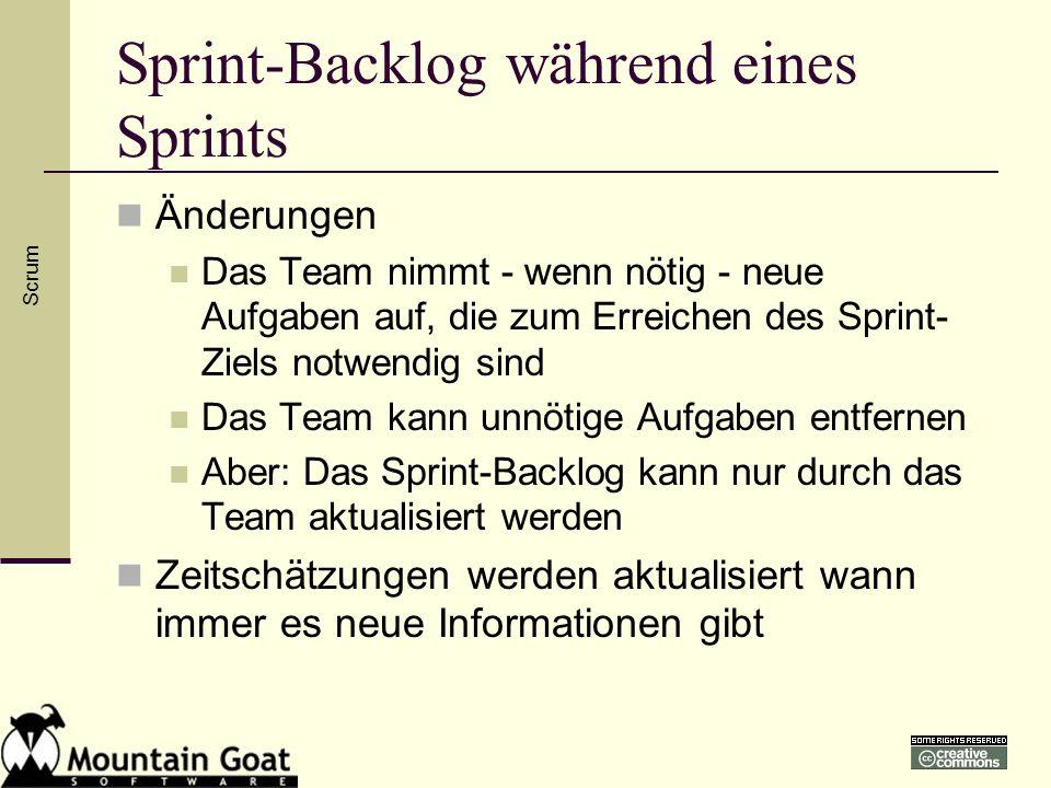 Sprint-Backlog während eines Sprints Änderungen Das Team nimmt - wenn nötig - neue Aufgaben auf, die zum Erreichen des Sprint- Ziels notwendig sind Da