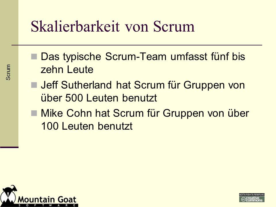 Skalierbarkeit von Scrum Das typische Scrum-Team umfasst fünf bis zehn Leute Jeff Sutherland hat Scrum für Gruppen von über 500 Leuten benutzt Mike Co
