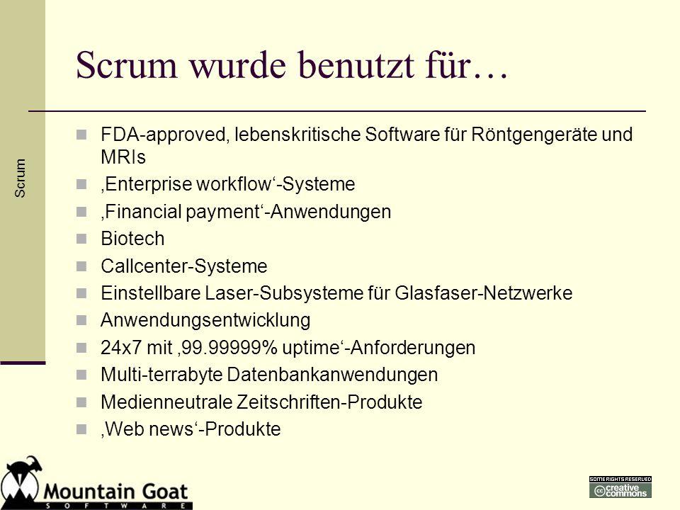 Scrum wurde benutzt für… FDA-approved, lebenskritische Software für Röntgengeräte und MRIs Enterprise workflow-Systeme Financial payment-Anwendungen B