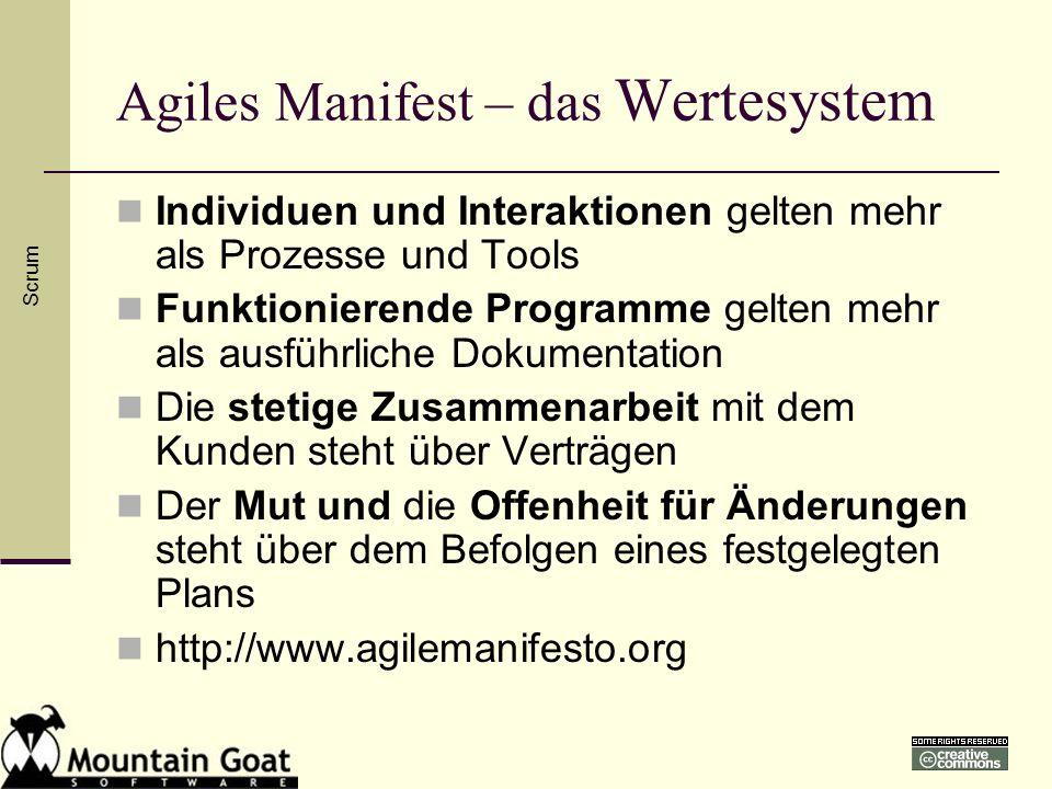 Agiles Manifest – das Wertesystem Individuen und Interaktionen gelten mehr als Prozesse und Tools Funktionierende Programme gelten mehr als ausführlic