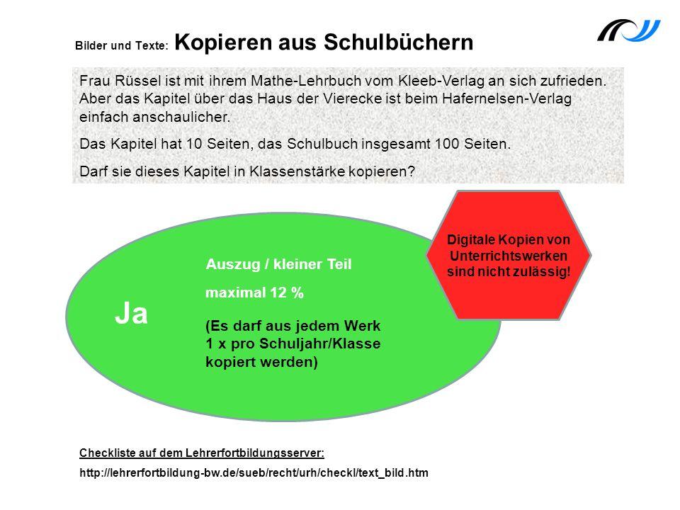 Frau Rüssel ist mit ihrem Mathe-Lehrbuch vom Kleeb-Verlag an sich zufrieden. Aber das Kapitel über das Haus der Vierecke ist beim Hafernelsen-Verlag e