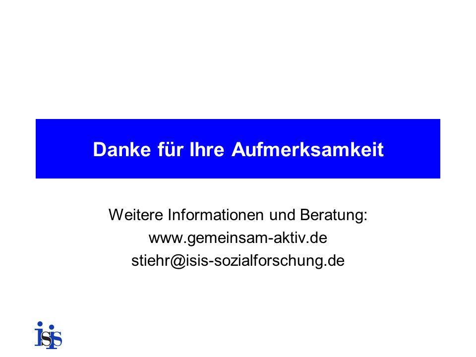 Danke für Ihre Aufmerksamkeit Weitere Informationen und Beratung: www.gemeinsam-aktiv.de stiehr@isis-sozialforschung.de