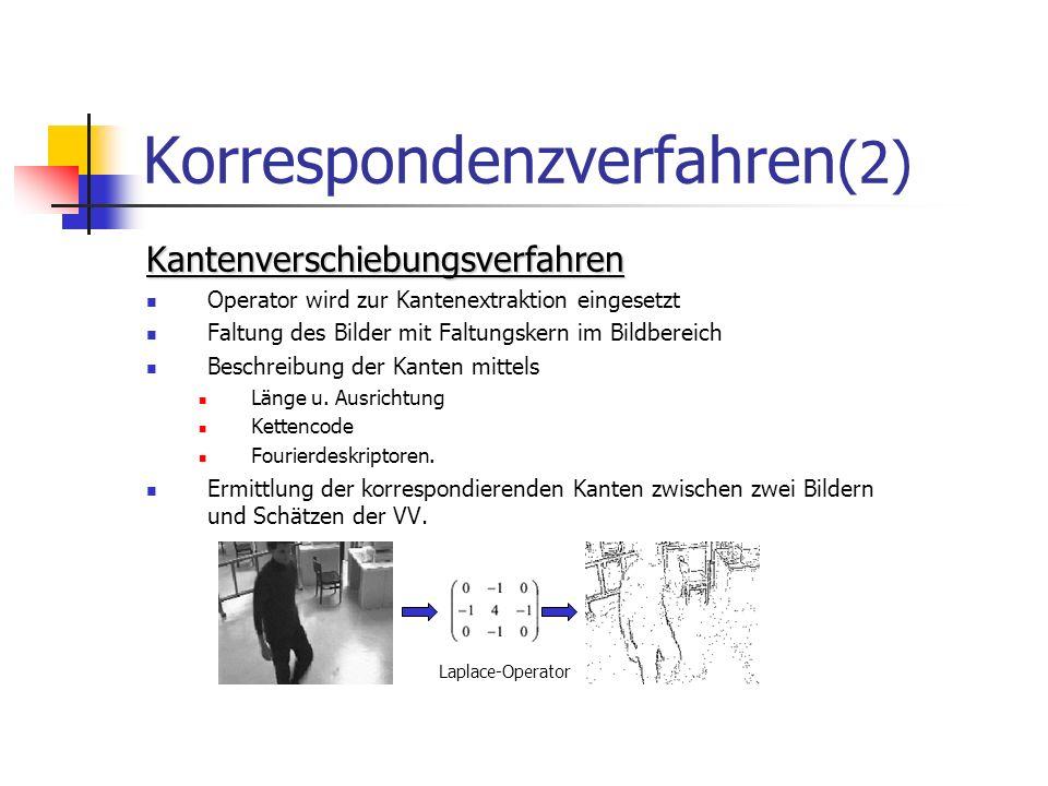 Korrespondenzverfahren (2) Kantenverschiebungsverfahren Operator wird zur Kantenextraktion eingesetzt Faltung des Bilder mit Faltungskern im Bildberei
