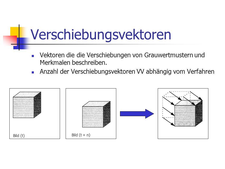 Verschiebungsvektoren Vektoren die die Verschiebungen von Grauwertmustern und Merkmalen beschreiben. Anzahl der Verschiebungsvektoren VV abhängig vom