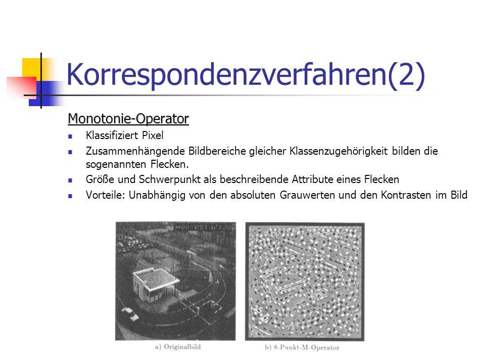 Korrespondenzverfahren(2) Monotonie-Operator Klassifiziert Pixel Zusammenhängende Bildbereiche gleicher Klassenzugehörigkeit bilden die sogenannten Fl