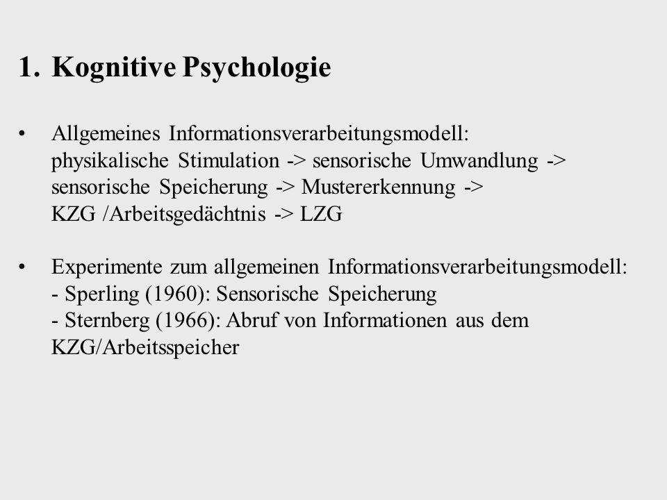Mustererkennung Vergleich des sich im sensorischen Speicher befindlichen Stimulus mit einer kognitiven Repräsentation im LZG zwecks inhaltlicher Identifikation 1.Die kognitive Repräsentation ist a) Miniaturkopie des Stimulus b) sie ist ein Prototyp c) eine Merkmalsliste 2.