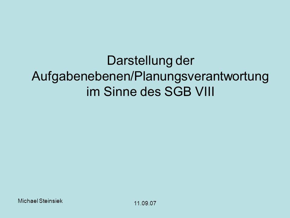 Michael Steinsiek 11.09.07 Darstellung der Aufgabenebenen/Planungsverantwortung im Sinne des SGB VIII