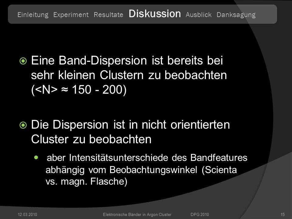 12.03.201015 Eine Band-Dispersion ist bereits bei sehr kleinen Clustern zu beobachten ( 150 - 200) Die Dispersion ist in nicht orientierten Cluster zu